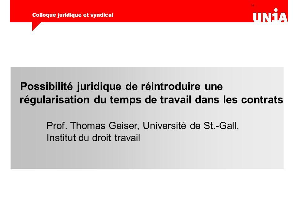 14 Colloque juridique et syndical Possibilité juridique de réintroduire une régularisation du temps de travail dans les contrats Prof.