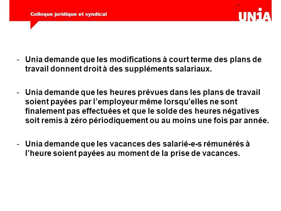 20 Colloque juridique et syndical -Unia demande que les modifications à court terme des plans de travail donnent droit à des suppléments salariaux. -U
