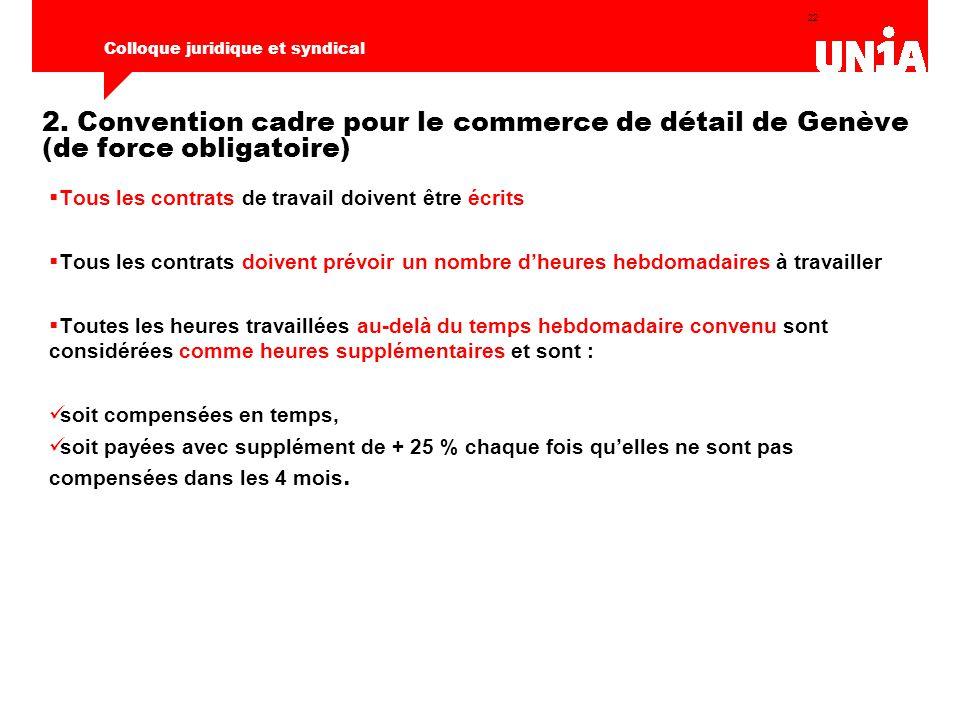 22 Colloque juridique et syndical 2. Convention cadre pour le commerce de détail de Genève (de force obligatoire)  Tous les contrats de travail doive
