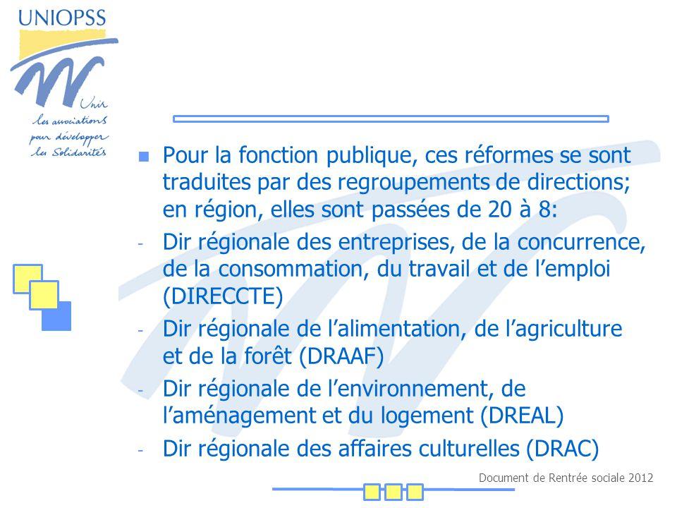 Document de Rentrée sociale 2012 Pour la fonction publique, ces réformes se sont traduites par des regroupements de directions; en région, elles sont passées de 20 à 8: - Dir régionale des entreprises, de la concurrence, de la consommation, du travail et de l'emploi (DIRECCTE) - Dir régionale de l'alimentation, de l'agriculture et de la forêt (DRAAF) - Dir régionale de l'environnement, de l'aménagement et du logement (DREAL) - Dir régionale des affaires culturelles (DRAC)