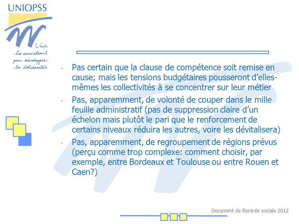 Document de Rentrée sociale 2012 Les questions qui se posent: La place du département: - Elle est menacée par la montée des intercommunalités, le développement des métropoles (Rhône Alpes n'existe guère face à Lyon, ni l'Isère face à Grenoble…) et celui des régions - Problème du financement, l'Etat n'assurant pas des transferts suffisants alors que les charges montent vite: depuis 2004, la dépense sociale nette des départements est passée de 21,9milliards à 31,4, soit +9,5 Mds; les concours de l'Etat au titre des allocations (CNSA et TIPP- FMDI) n'ont augmenté que de 2,2 Mds, soit une charge supplémentaire de +7,3 milliards - Dès lors quelle est la marge d'action du département.