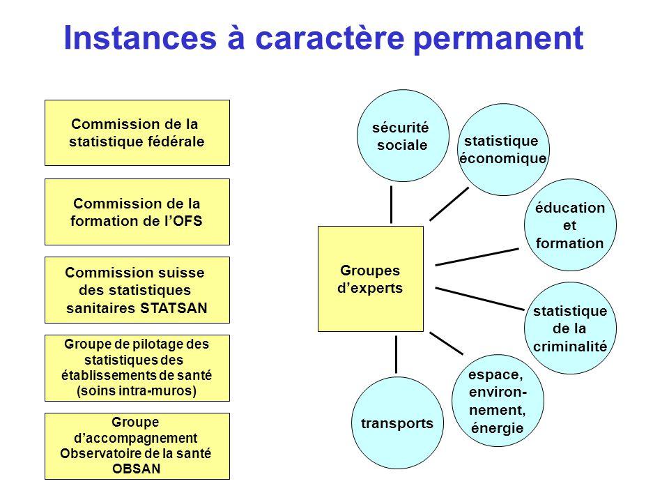 Instances à caractère permanent Commission de la statistique fédérale Commission suisse des statistiques sanitaires STATSAN Groupe de pilotage des sta