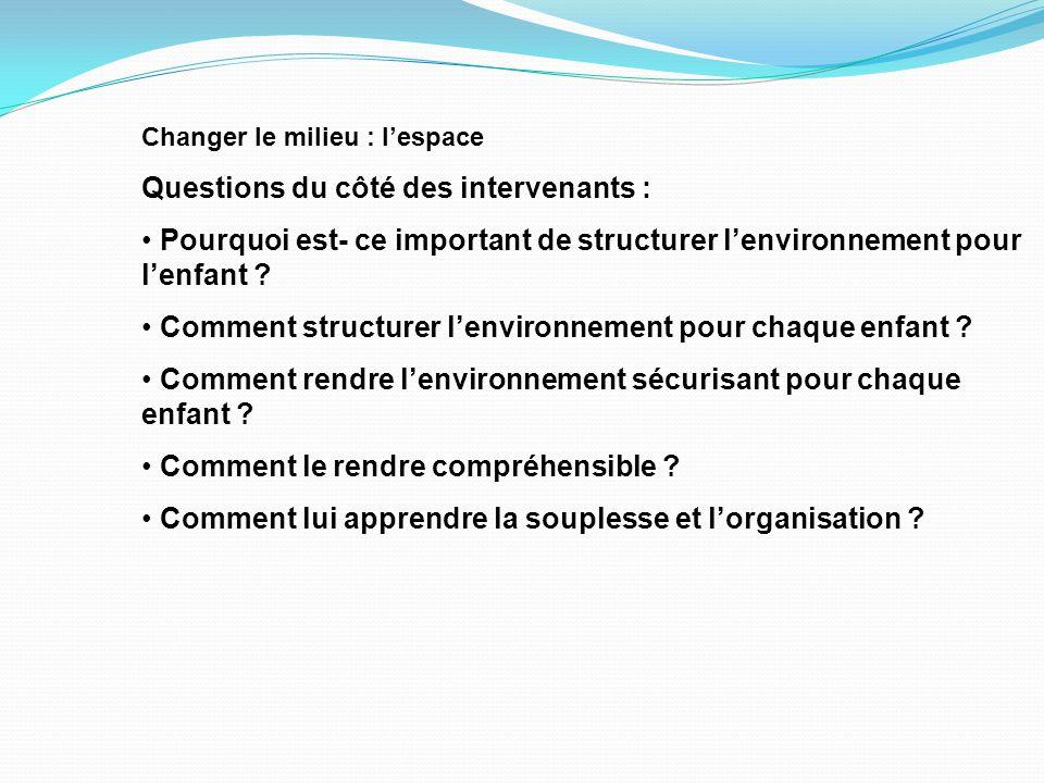 Changer le milieu : l'espace Questions du côté des intervenants : Pourquoi est- ce important de structurer l'environnement pour l'enfant .