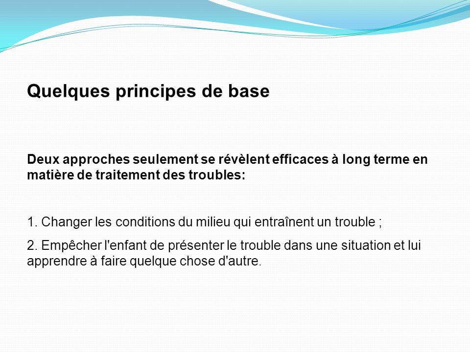 Quelques principes de base Deux approches seulement se révèlent efficaces à long terme en matière de traitement des troubles: 1.