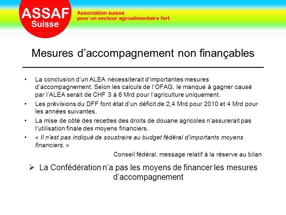 Mesures d'accompagnement non finançables La conclusion d'un ALEA nécessiterait d'importantes mesures d'accompagnement.