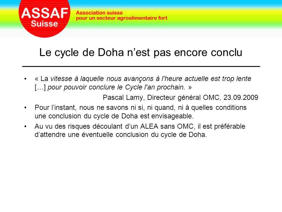 Le cycle de Doha n'est pas encore conclu « La vitesse à laquelle nous avançons à l heure actuelle est trop lente […] pour pouvoir conclure le Cycle l an prochain.