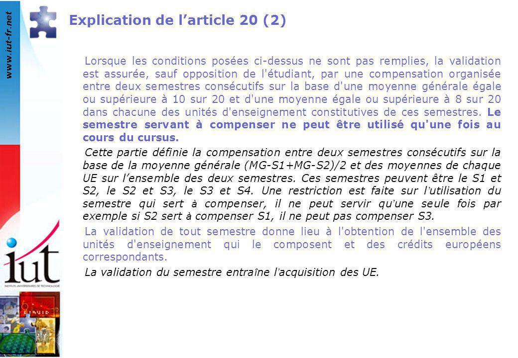 www.iut-fr.net Explication de l'article 20 (2) Lorsque les conditions posées ci-dessus ne sont pas remplies, la validation est assurée, sauf oppositio
