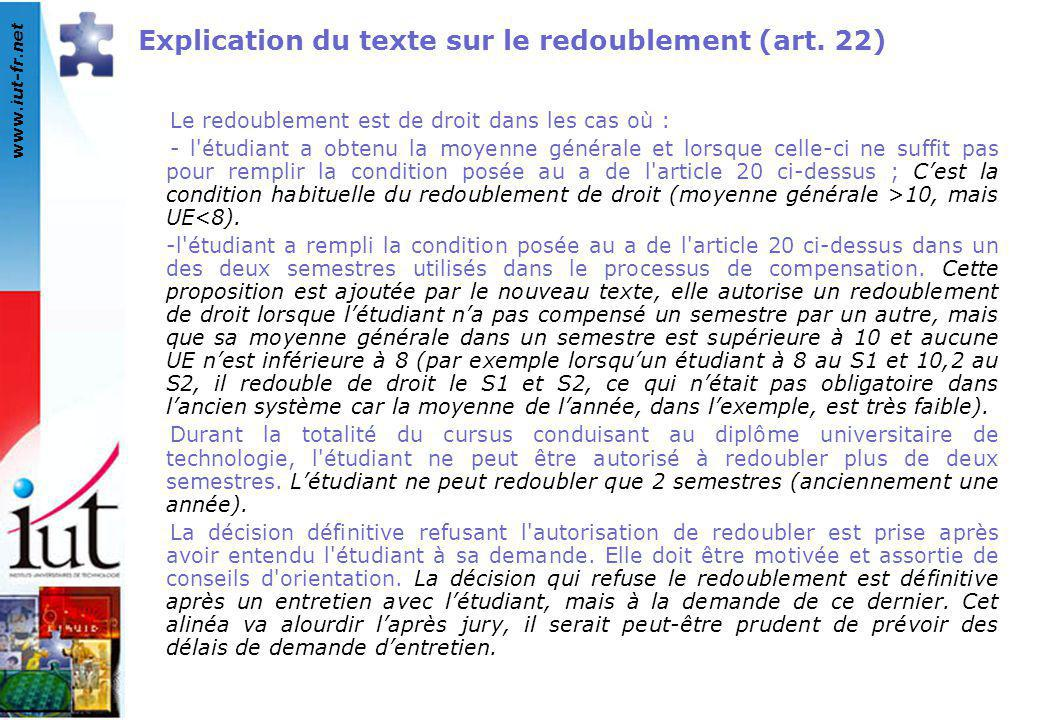 www.iut-fr.net Explication du texte sur le redoublement (art. 22) Le redoublement est de droit dans les cas où : - l'étudiant a obtenu la moyenne géné