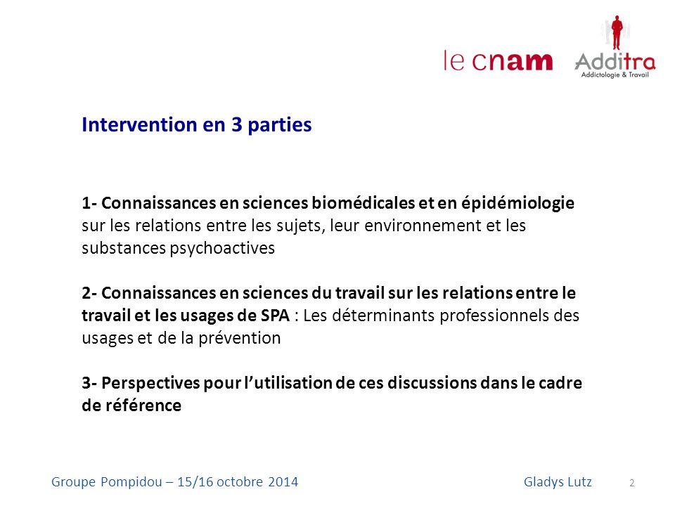 Intervention en 3 parties 1- Connaissances en sciences biomédicales et en épidémiologie sur les relations entre les sujets, leur environnement et les