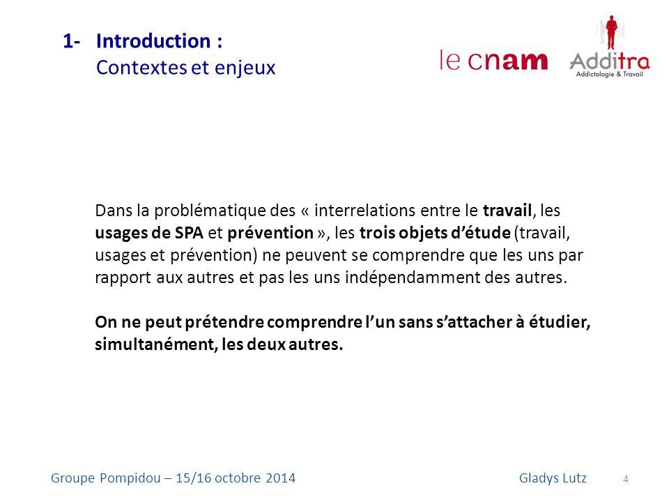 1- Introduction : Contextes et enjeux 4 Groupe Pompidou – 15/16 octobre 2014Gladys Lutz Dans la problématique des « interrelations entre le travail, l