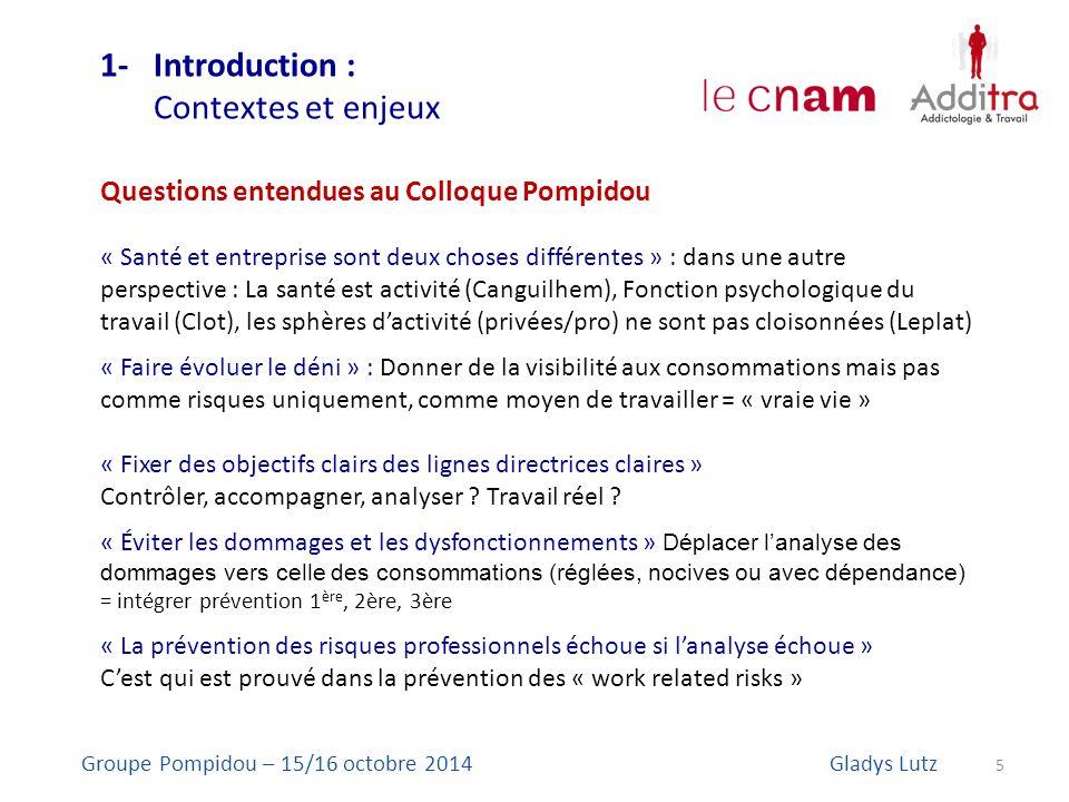 1- Introduction : Contextes et enjeux 5 Groupe Pompidou – 15/16 octobre 2014Gladys Lutz Questions entendues au Colloque Pompidou « Santé et entreprise