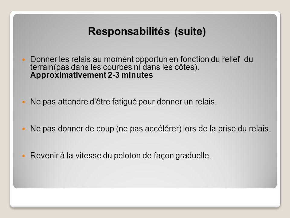 Responsabilités (suite) Donner les relais au moment opportun en fonction du relief du terrain(pas dans les courbes ni dans les côtes).