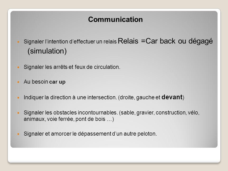 Communication Signaler l'intention d'effectuer un relais Relais =Car back ou dégagé (simulation) Signaler les arrêts et feux de circulation.