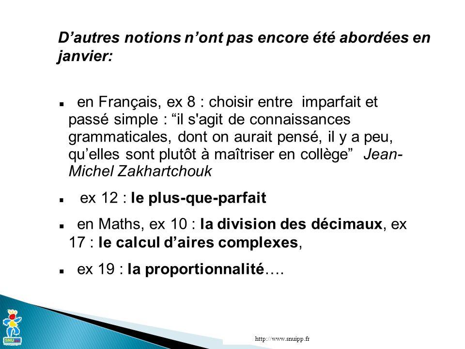 D'autres notions n'ont pas encore été abordées en janvier: en Français, ex 8 : choisir entre imparfait et passé simple : il s agit de connaissances grammaticales, dont on aurait pensé, il y a peu, qu'elles sont plutôt à maîtriser en collège Jean- Michel Zakhartchouk ex 12 : le plus-que-parfait en Maths, ex 10 : la division des décimaux, ex 17 : le calcul d'aires complexes, ex 19 : la proportionnalité….