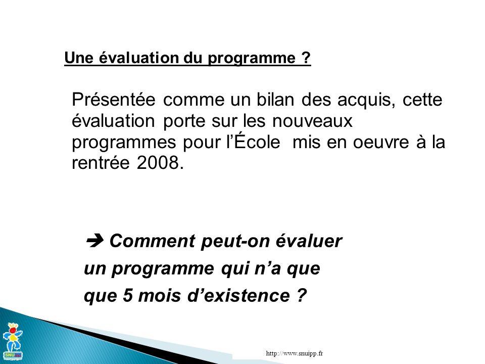 http://www.snuipp.fr Une évaluation du programme .