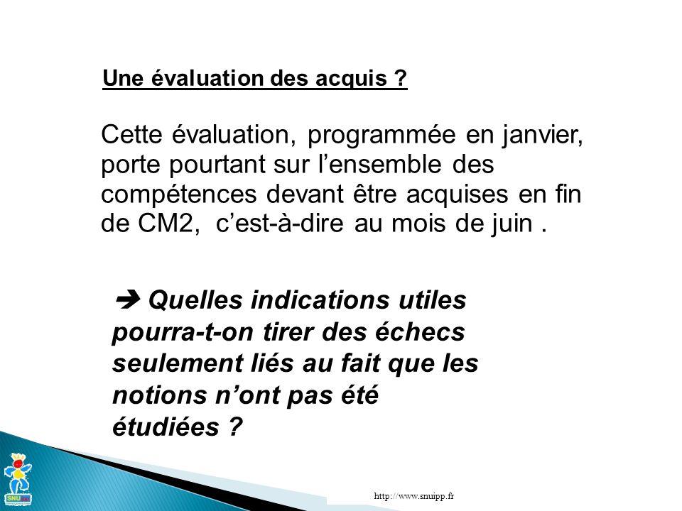 http://www.snuipp.fr Une évaluation des acquis .