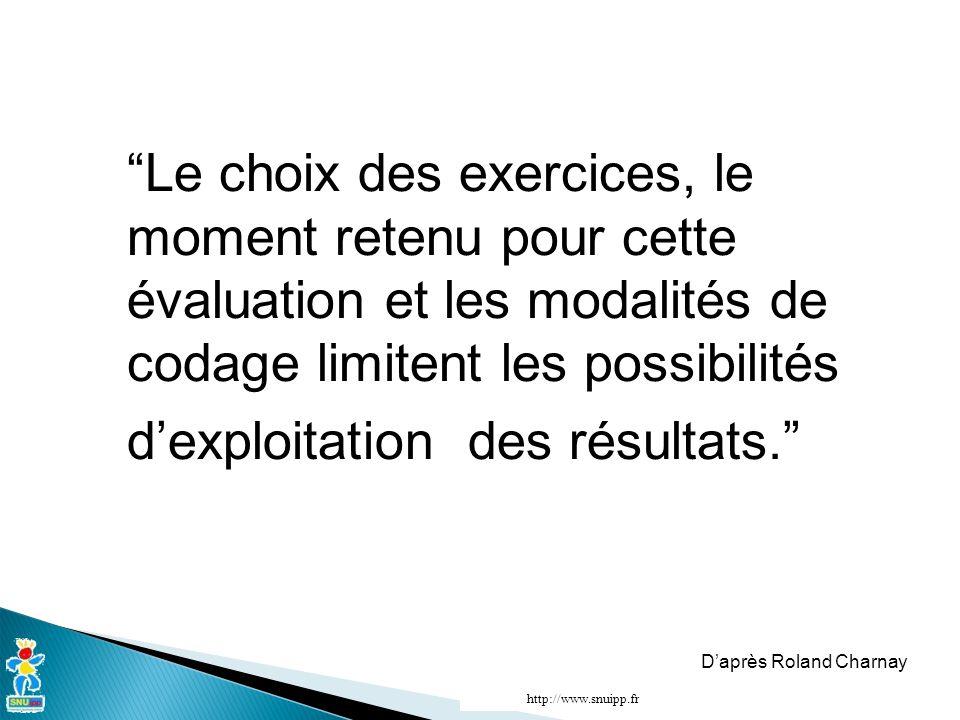 Le choix des exercices, le moment retenu pour cette évaluation et les modalités de codage limitent les possibilités d'exploitation des résultats. D'après Roland Charnay http://www.snuipp.fr