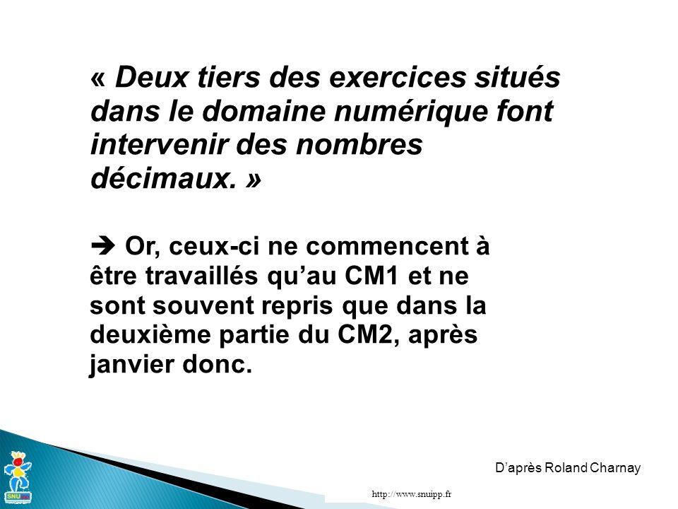 « Deux tiers des exercices situés dans le domaine numérique font intervenir des nombres décimaux.