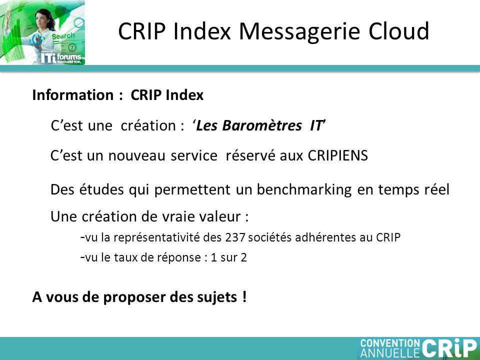 Information : CRIP Index C'est une création : 'Les Baromètres IT' C'est un nouveau service réservé aux CRIPIENS Des études qui permettent un benchmarking en temps réel Une création de vraie valeur : - vu la représentativité des 237 sociétés adhérentes au CRIP - vu le taux de réponse : 1 sur 2 A vous de proposer des sujets .