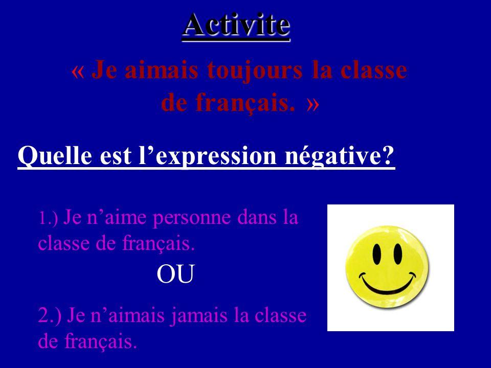 Activite « Je aimais toujours la classe de français.