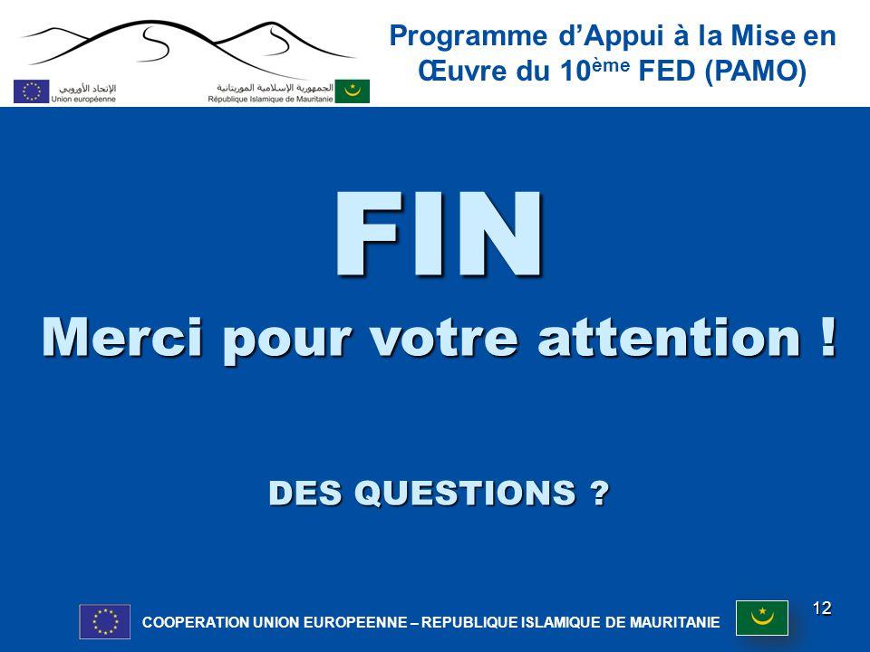 Programme d'Appui à la Mise en Œuvre du 10 ème FED (PAMO) COOPERATION UNION EUROPEENNE – REPUBLIQUE ISLAMIQUE DE MAURITANIE 12 FIN Merci pour votre attention .