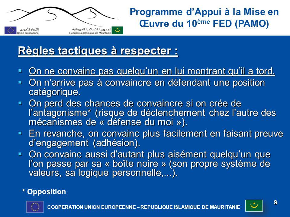 Programme d'Appui à la Mise en Œuvre du 10 ème FED (PAMO) COOPERATION UNION EUROPEENNE – REPUBLIQUE ISLAMIQUE DE MAURITANIE Recommandations :  Eviter de polémiquer.