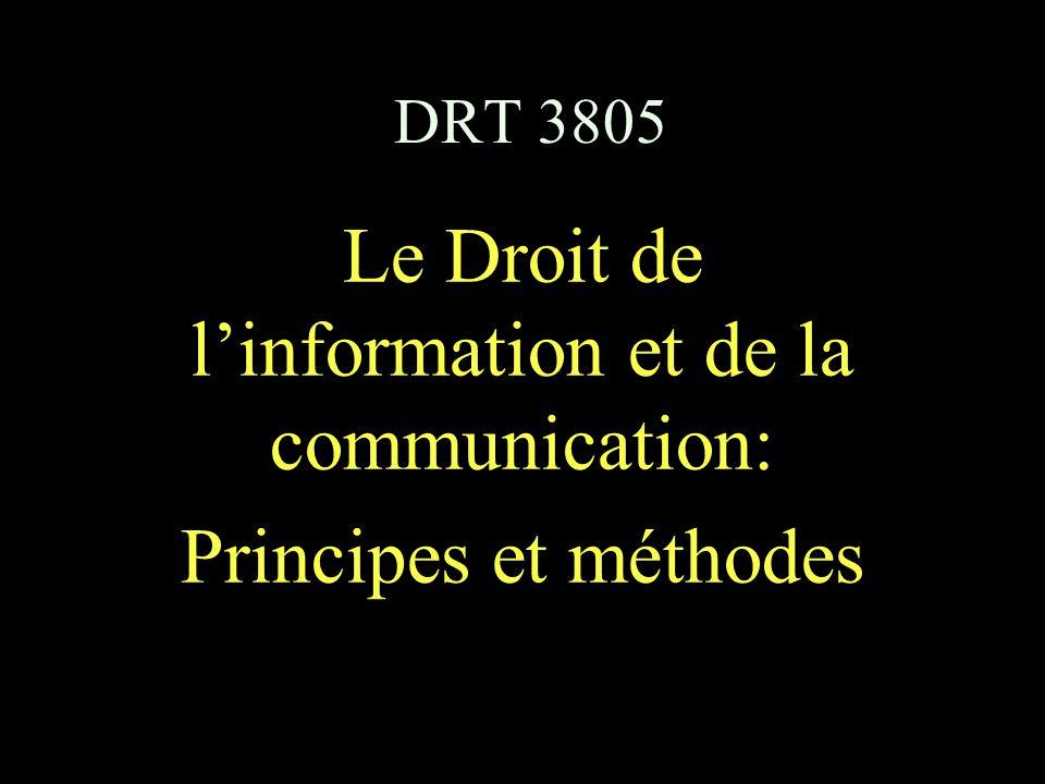 DRT 3805 Le Droit de l'information et de la communication: Principes et méthodes