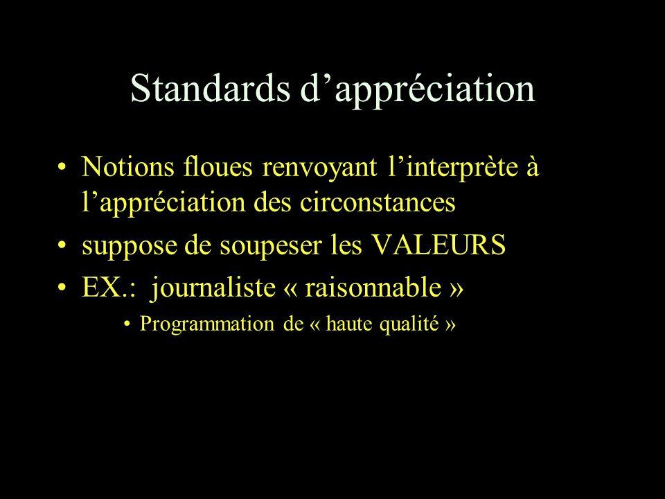 Standards d'appréciation Notions floues renvoyant l'interprète à l'appréciation des circonstances suppose de soupeser les VALEURS EX.: journaliste « raisonnable » Programmation de « haute qualité »