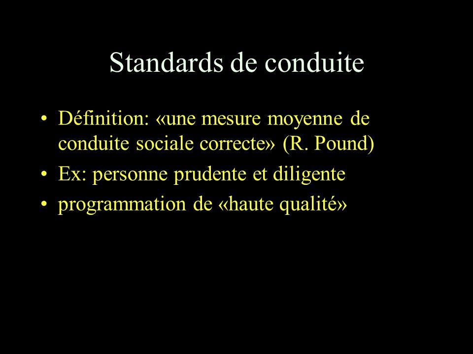 Standards de conduite Définition: «une mesure moyenne de conduite sociale correcte» (R.