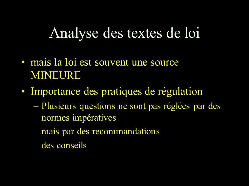 Analyse des textes de loi mais la loi est souvent une source MINEURE Importance des pratiques de régulation –Plusieurs questions ne sont pas réglées par des normes impératives –mais par des recommandations –des conseils