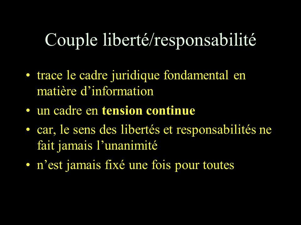 Couple liberté/responsabilité trace le cadre juridique fondamental en matière d'information un cadre en tension continue car, le sens des libertés et responsabilités ne fait jamais l'unanimité n'est jamais fixé une fois pour toutes
