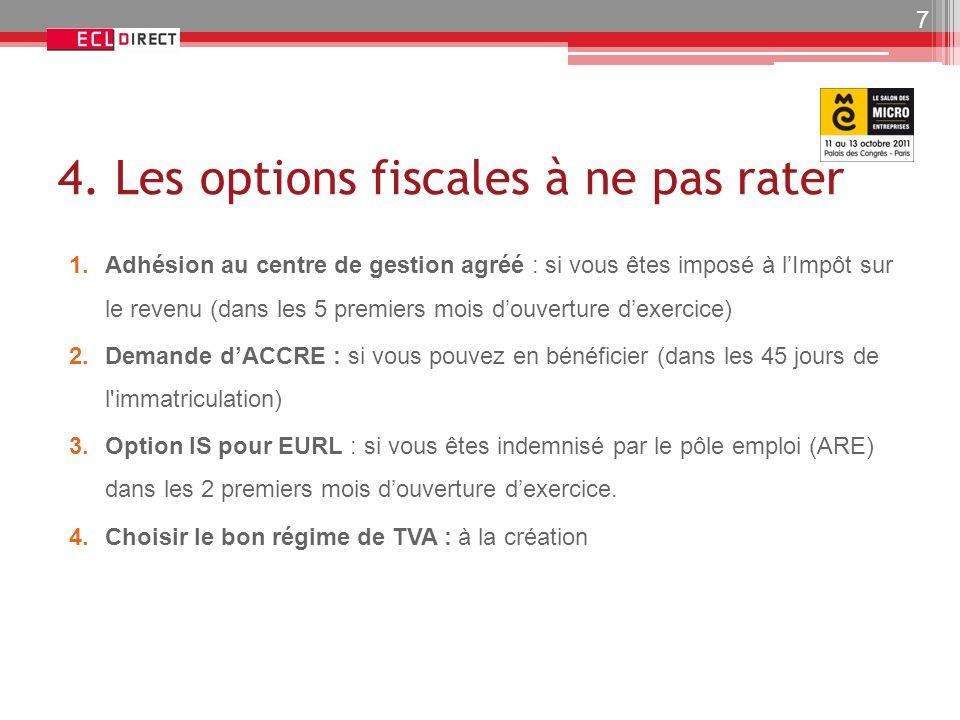 4. Les options fiscales à ne pas rater 1.Adhésion au centre de gestion agréé : si vous êtes imposé à l'Impôt sur le revenu (dans les 5 premiers mois d
