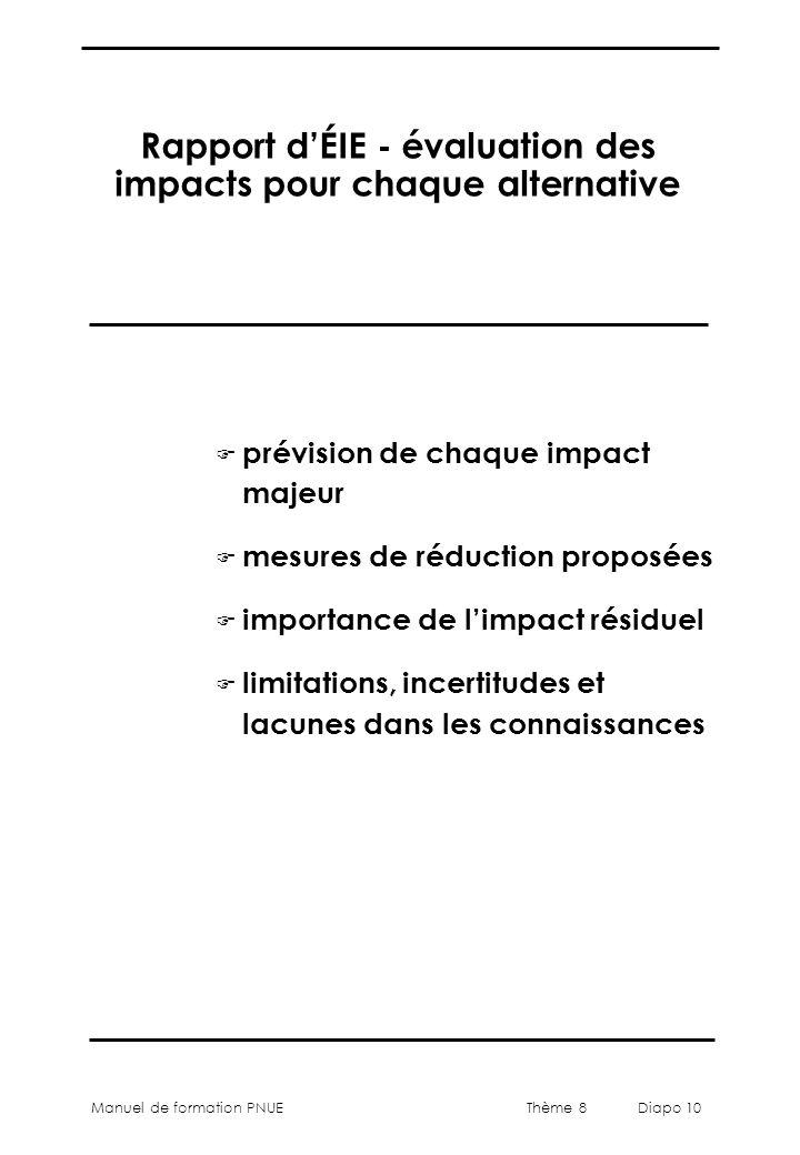 Thème 8 Diapo 10 Manuel de formation PNUE Rapport d'ÉIE - évaluation des impacts pour chaque alternative F prévision de chaque impact majeur F mesures