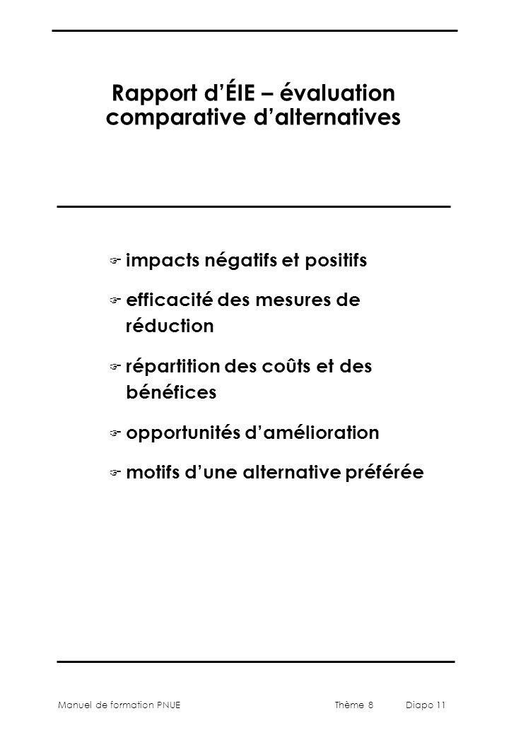 Thème 8 Diapo 11 Manuel de formation PNUE Rapport d'ÉIE – évaluation comparative d'alternatives F impacts négatifs et positifs F efficacité des mesure
