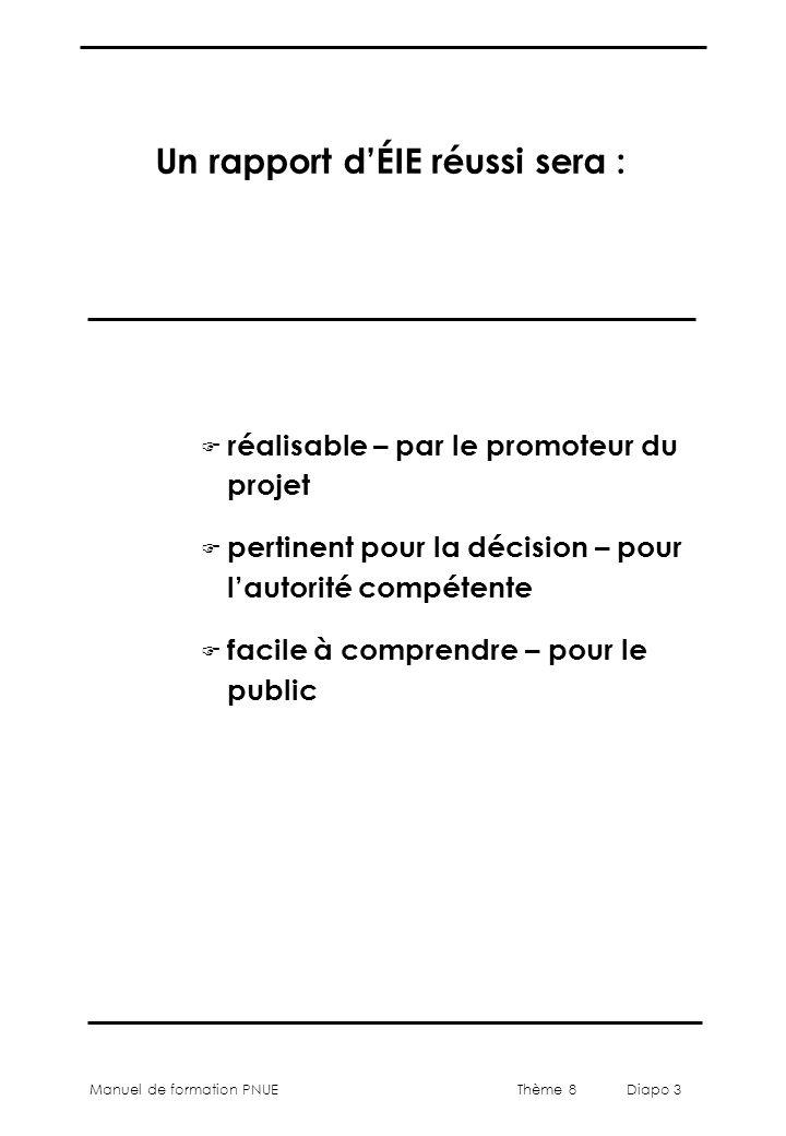 Thème 8 Diapo 3 Manuel de formation PNUE Un rapport d'ÉIE réussi sera : F réalisable – par le promoteur du projet F pertinent pour la décision – pour