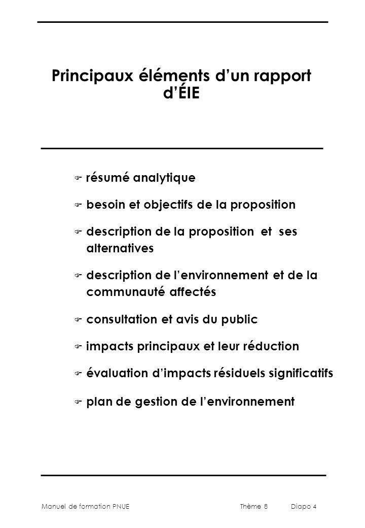 Thème 8 Diapo 4 Manuel de formation PNUE Principaux éléments d'un rapport d'ÉIE F résumé analytique F besoin et objectifs de la proposition F descript