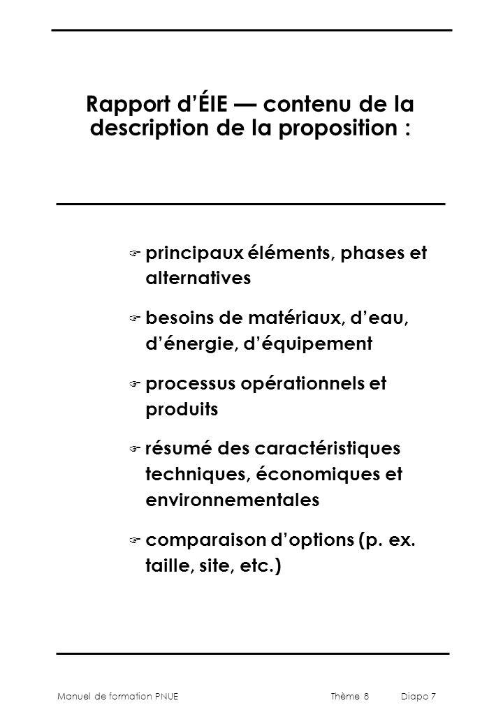 Thème 8 Diapo 7 Manuel de formation PNUE Rapport d'ÉIE — contenu de la description de la proposition : F principaux éléments, phases et alternatives F