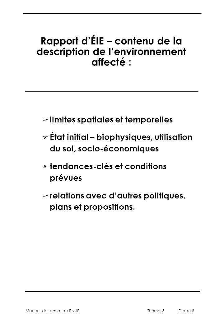 Thème 8 Diapo 8 Manuel de formation PNUE Rapport d'ÉIE – contenu de la description de l'environnement affecté : F limites spatiales et temporelles F É