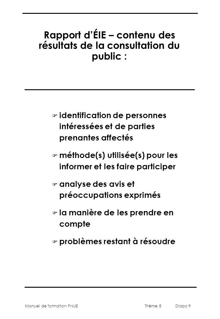 Thème 8 Diapo 9 Manuel de formation PNUE Rapport d'ÉIE – contenu des résultats de la consultation du public : F identification de personnes intéressée