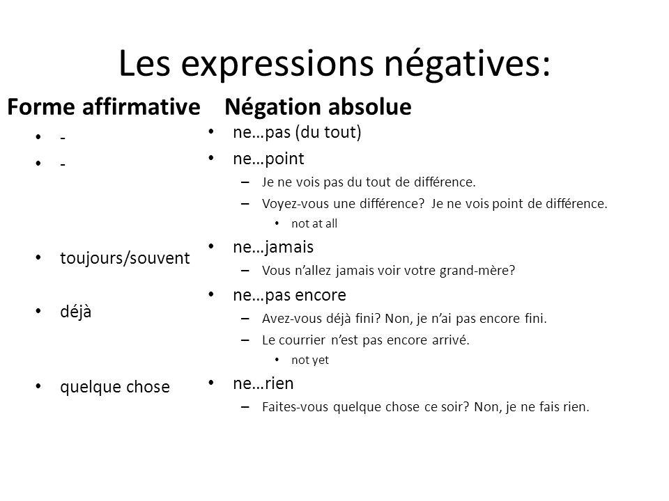 Les expressions négatives: Forme affirmative - - toujours/souvent déjà quelque chose Négation absolue ne…pas (du tout) ne…point – Je ne vois pas du to