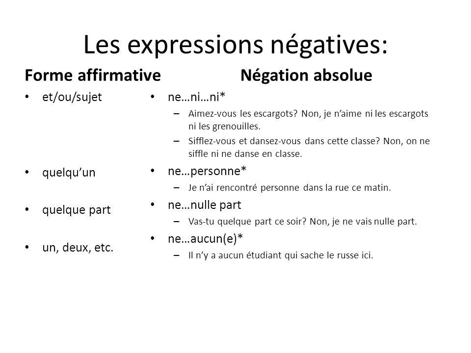 Les expressions négatives: Forme affirmative et/ou/sujet quelqu'un quelque part un, deux, etc. Négation absolue ne…ni…ni* – Aimez-vous les escargots?