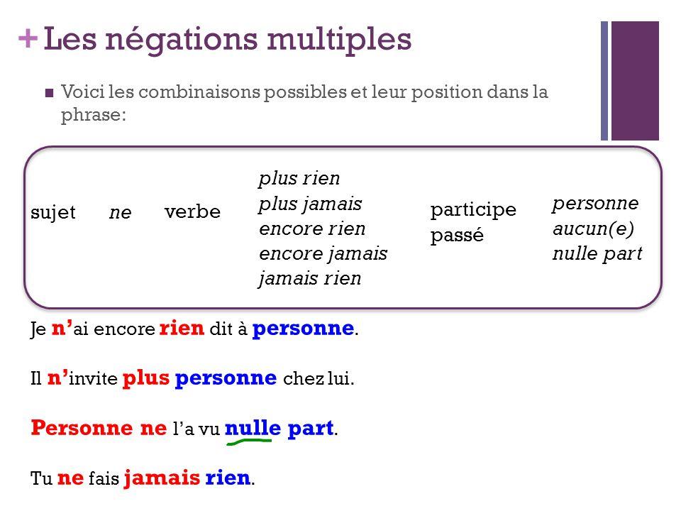 + Les négations multiples Voici les combinaisons possibles et leur position dans la phrase: sujetne verbe plus rien plus jamais encore rien encore jam
