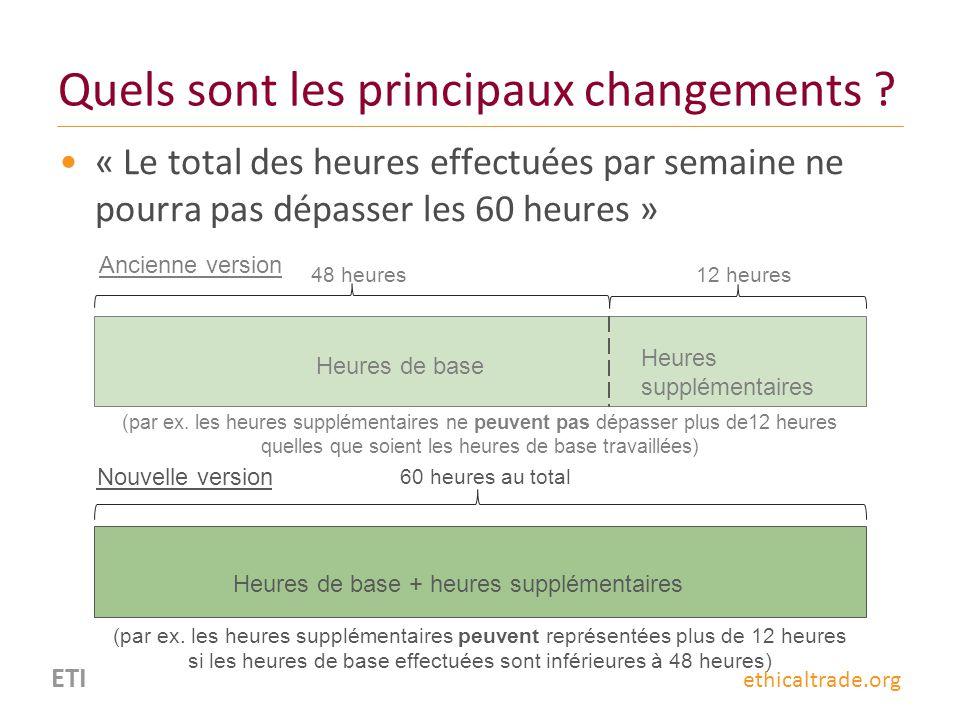 ETI ethicaltrade.org Quels sont les principaux changements ? « Le total des heures effectuées par semaine ne pourra pas dépasser les 60 heures » 60 he