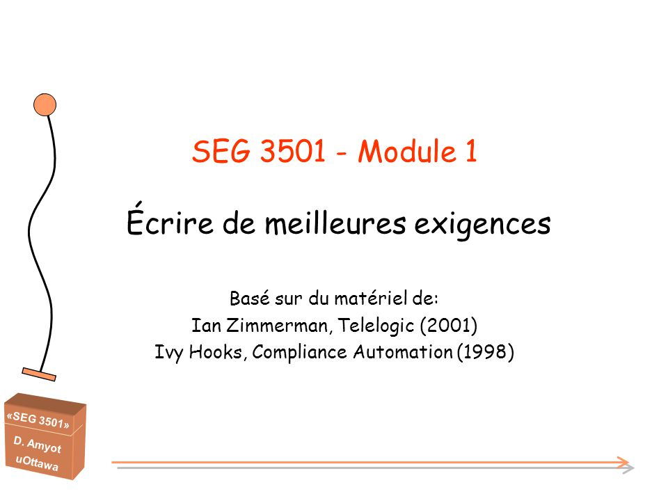 «SEG 3501» D. Amyot uOttawa SEG 3501 - Module 1 Écrire de meilleures exigences Basé sur du matériel de: Ian Zimmerman, Telelogic (2001) Ivy Hooks, Com