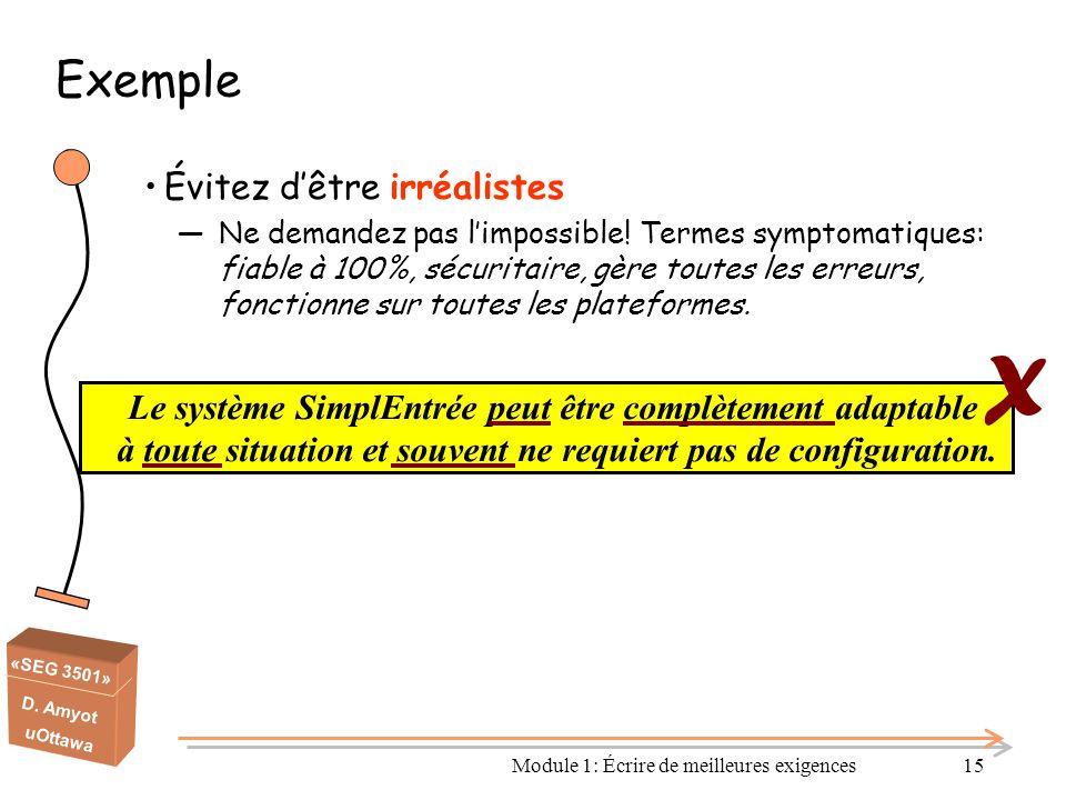 «SEG 3501» D. Amyot uOttawa Module 1: Écrire de meilleures exigences15 Exemple Évitez d'être irréalistes ―Ne demandez pas l'impossible! Termes symptom
