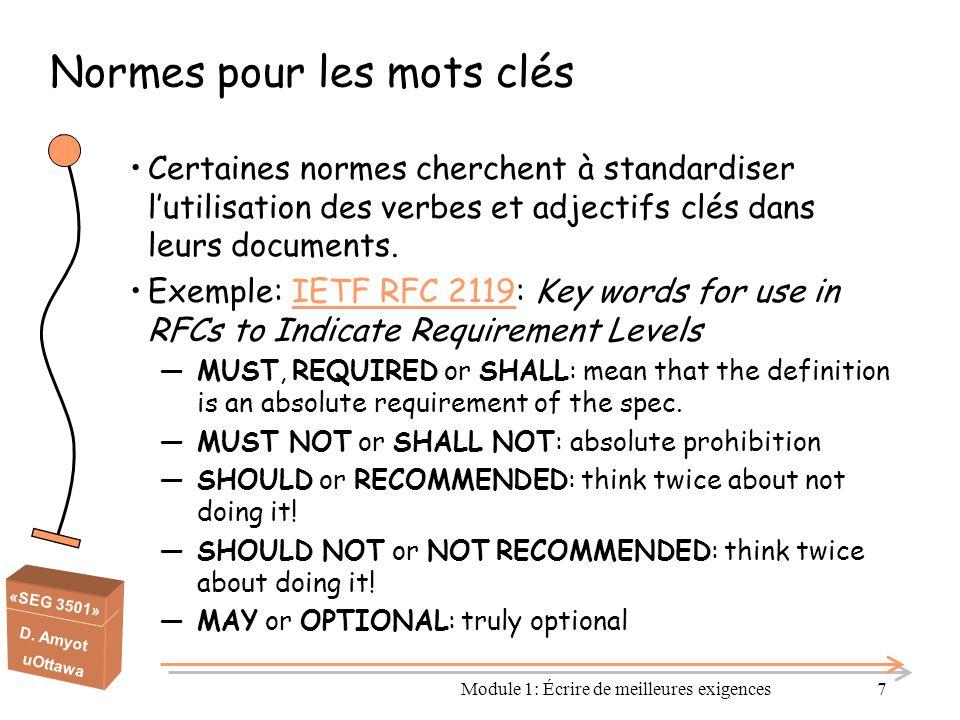 «SEG 3501» D. Amyot uOttawa Normes pour les mots clés Certaines normes cherchent à standardiser l'utilisation des verbes et adjectifs clés dans leurs