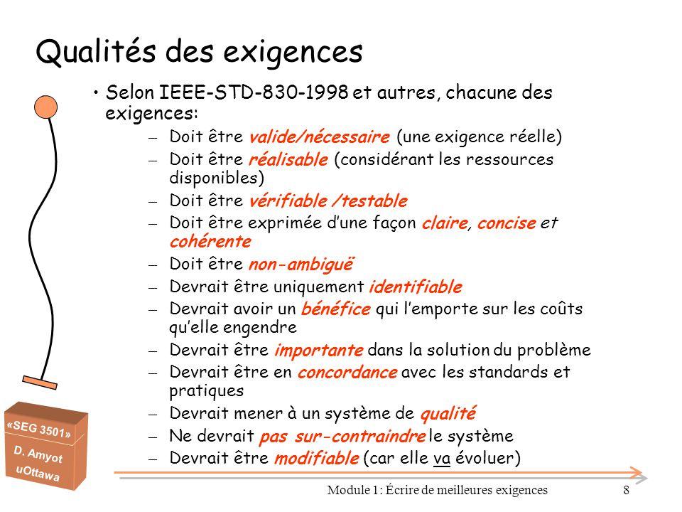 «SEG 3501» D. Amyot uOttawa Module 1: Écrire de meilleures exigences8 Qualités des exigences Selon IEEE-STD-830-1998 et autres, chacune des exigences: