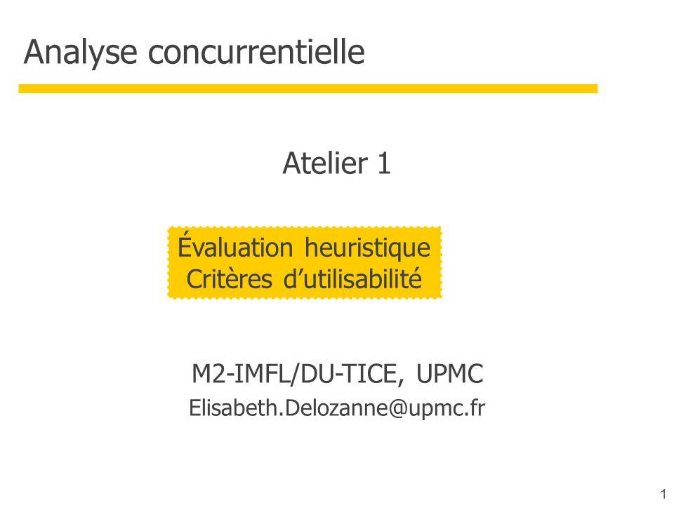 Atelier A rendre pour le projet (phase 1)  une inspection heuristique d'au moins deux applications voisines de votre projet par chacun des membres de votre équipe  pour la prochaine fois sur le site de votre projet Ensemble de critères : les critères de l'INRIA  Appelés aussi critères de Bastien et Scapin  À l'origine de la norme Z67-133-1, Décembre 1991  Présentation sur le site ergolab : http://www.ergolab.net/articles/criteres-ergonomiques-1.php http://www.ergolab.net/articles/criteres-ergonomiques-2.php 12