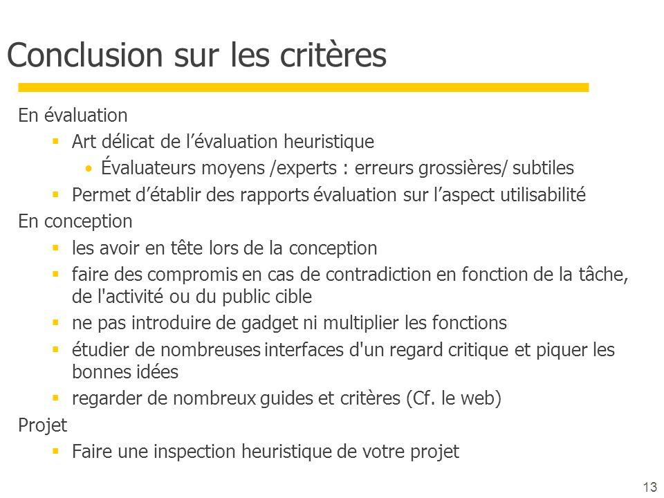 Conclusion sur les critères En évaluation  Art délicat de l'évaluation heuristique Évaluateurs moyens /experts : erreurs grossières/ subtiles  Perme
