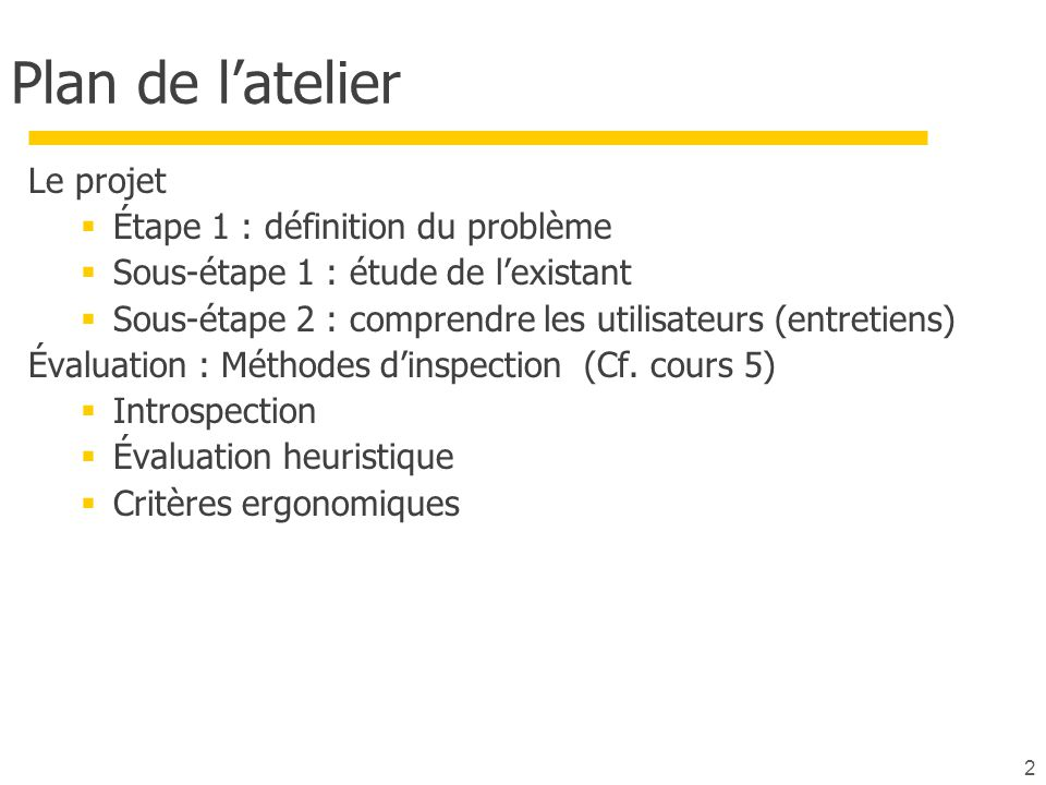 2 Plan de l'atelier Le projet  Étape 1 : définition du problème  Sous-étape 1 : étude de l'existant  Sous-étape 2 : comprendre les utilisateurs (en